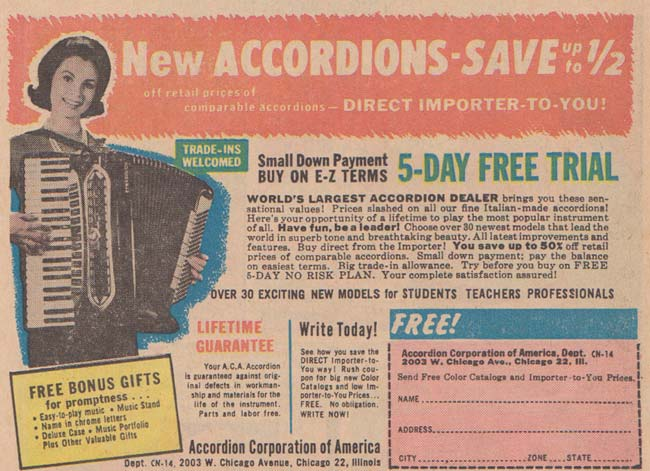 Why study for the dead end job of Nursing, when you could play the accordion and make a mint?